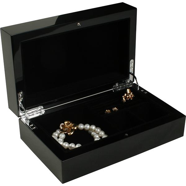Coffret bijoux en bois vernis 701, laqué noir