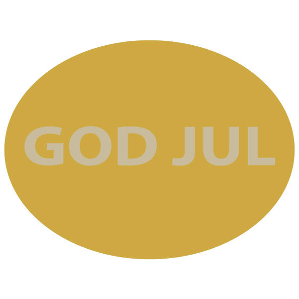 Oval Label with Swedish text: God Jul