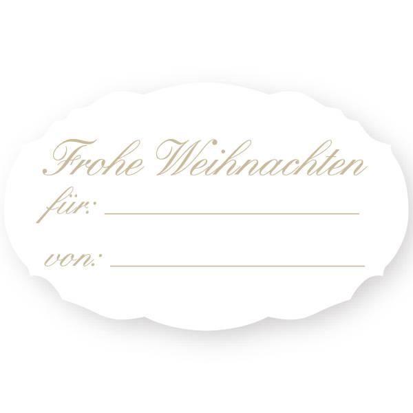 Oval label with German text: Für / Von