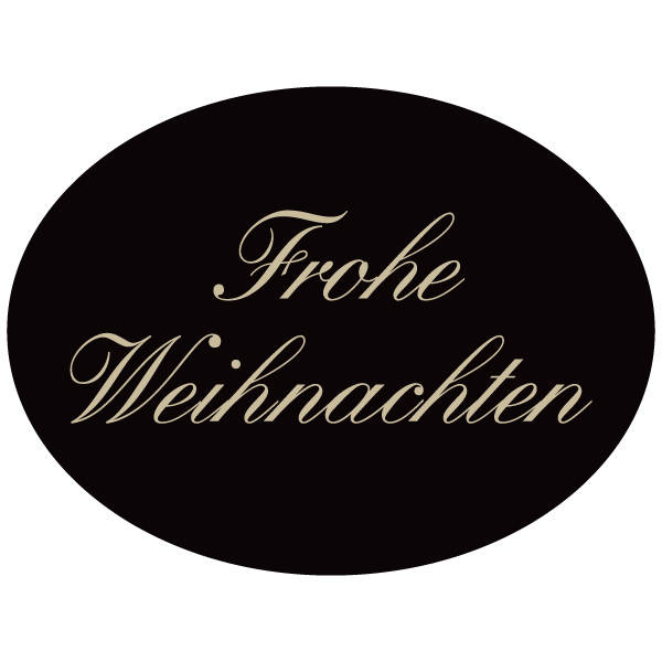 Oval label with German text: Frohe Weihnachten