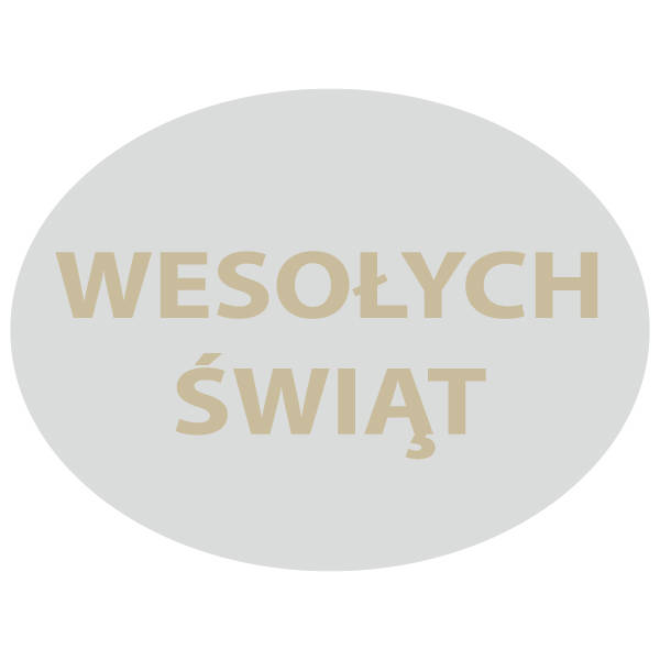 Oval Label with Polish Text: Wesołych Świąt