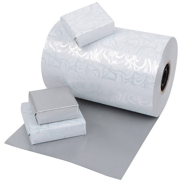 Gavepapir 0176 - Hvid og sølv dobbeltsidet