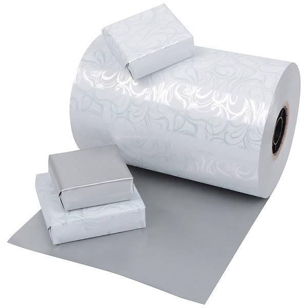 Papier cadeau nº 0176 Blanc avec motif bouclé/ argent mat, réversible  40 cm - 160 m - 80 g