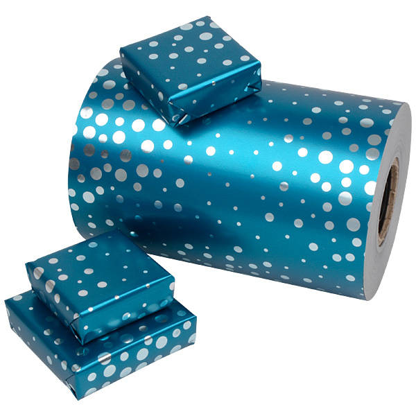 Papier cadeau n° 3202 - Bleu foncé/cercles argenté