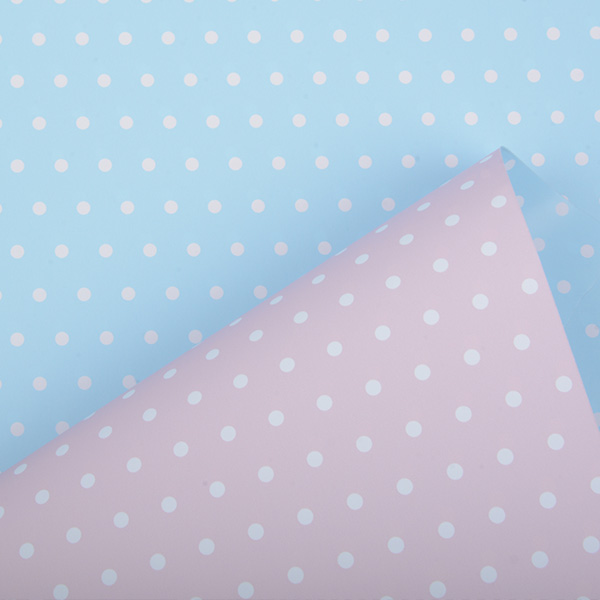 Gavepapir 6301 - Lyserød/Lyseblå med prikker