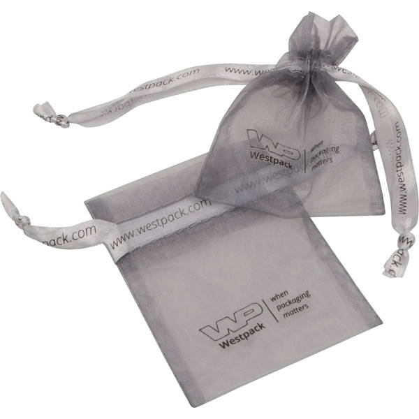 Bourse Mini voile organdi, logo sur bourse+ruban