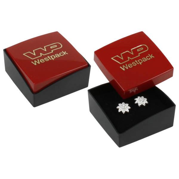 Storköp -Copenhagen smyckesask till örhänge Rött lock, svart botten / Svart skuminsats 43 x 43 x 20