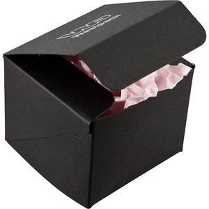 Plano 1000 Small Flat-packed Gift Box, cube Matt black cardboard 80 x 80 x 70
