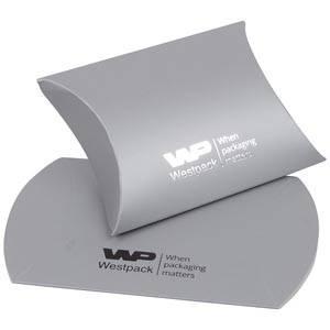 Plano Fix Flat-packed Pillow Gift Box, Small Matt Silver Cardboard 70 x 71 x 22