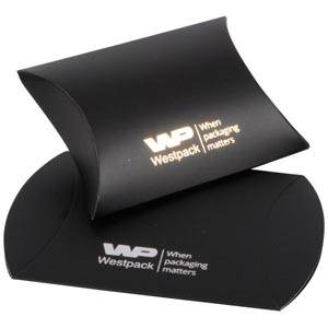 Plano Fix Flat-packed Pillow Gift Box, Small Matt Black Cardboard 70 x 71 x 22