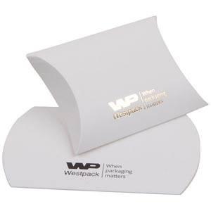Plano Fix Flat-packed Pillow Gift Box, Small Matt White Cardboard 70 x 70 x 22