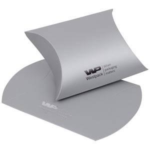 Plano Fix Flat-packed Pillow Gift Box, Medium Matt Silver Cardboard 80 x 90 x 35