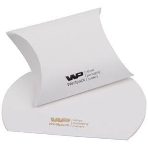 Plano Fix Flat-packed Pillow Gift Box, Medium Matt White Cardboard 80 x 90 x 35