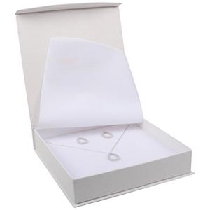 Nice smykkeæske til collier/ halskæde Cremefarvet kunstlæder med slangeprint / Hvid skum 165 x 165 x 35 (159 x 159 x 24 mm)