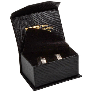 Nice smykkeæske til vielsesringe/ forlovelsesringe Sort kunstlæder med slangeprint / Sort skum 67 x 45 x 35 (60 x 40 x 30 mm)
