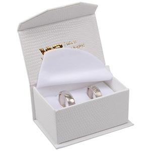 Nice sieradendoosje trouwringen/ manchetknopen Crèmekleurig kunstleer met slangenprint / Wit foam 67 x 45 x 35 (60 x 40 x 30 mm)