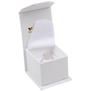 Nice smykkeæske til ring Cremefarvet kunstlæder med slangeprint / Hvid skum 47 x 52 x 39 (39 x 46 x 34 mm)