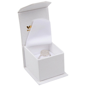 Nice Jewellery Box for Ring Cream Croco Leatherette Cardboard/ White Foam 47 x 52 x 39 (39 x 46 x 34 mm)