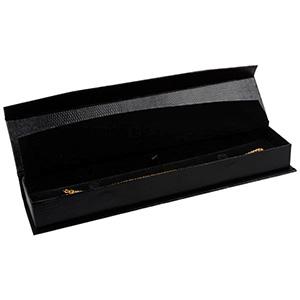 Nice aflang smykkeæske til armbånd Sort kunstlæder med slangeprint / Sort indsats 227 x 50 x 26 (219 x 41 x 17 mm)