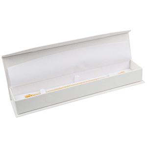 Nice sieradendoosje voor armband Crèmekleurig kunstleer met slangenprint / Wit foam 227 x 50 x 26 (219 x 41 x 17 mm)