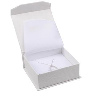 Nice Etui für Halskette mit Anhänger Cremeweißes Kunstleder / Weißer Einsatz 85 x 81 x 32 (78 x 73 x 29 mm)