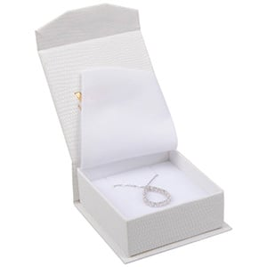 Nice Jewellery Box for Pendant / Earrings / Brooch Cream Croco Leatherette Cardboard/ White Foam 65 x 70 x 27 (57 x 64 x 24 mm)
