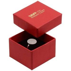 Boston opakowania na pierścionek Czerwony karton, Finelinen / czarna gąbka  50 x 50 x 32 (44 x 44 x 30 mm)