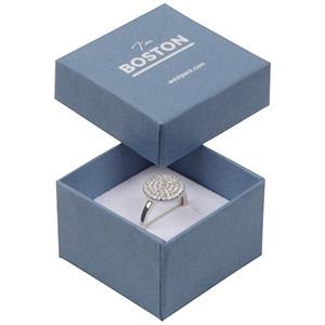 Boston opakowania na pierścionek Stalowoniebieski karton//biało-czarna gąbka 50 x 50 x 32 (44 x 44 x 30 mm)