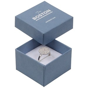 Boston écrin pour bague Carton bleu acier/ Mousse réversible noire-blanche 50 x 50 x 32 (44 x 44 x 30 mm)