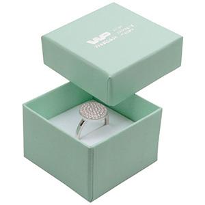 Boston doosje voor ring Mintgroen karton / Dubbelzijdig wit-zwart foam 50 x 50 x 32 (45 x 45 x 30 mm)
