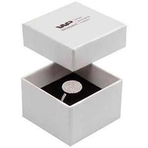 Boston écrin pour bague Carton blanc ivoire perlé/ Mousse blanche-noire 50 x 50 x 32 (44 x 44 x 30 mm)