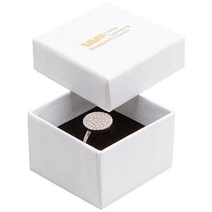 Boston opakowania na pierścionek Biały karton, Finelinen / biało-czarna gąbka 50 x 50 x 32 (44 x 44 x 30 mm)