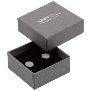 Boston doosje voor oorsieraden / bedeltje Grijs karton met linnen structuur / Zwart foam 50 x 50 x 22 (44 x 44 x 20 mm)
