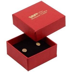 Boston sieradendoosje voor oorbellen/ oorknopjes Rood karton met linnen structuur / Zwart foam 50 x 50 x 22 (44 x 44 x 20 mm)
