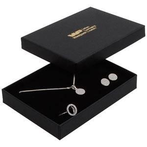 Boston smykkeæske til sæt af ring/øreringe/vedhæng Mat sort karton / Sort skumindsats 108 x 80 x 17 (104 x 75 x 10 mm)