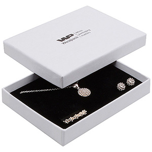 Boston Jewellery Box for Jewellery Set White Linen-look Cardboard/ White-Black Foam 108 x 80 x 17 (104 x 77 x 10 mm)