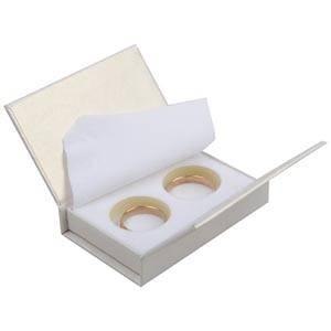 Boston sieradendoosje voor trouwringen Pearl ivoorwit karton/ Wit foam 75 x 51 x 19 (70 x 45 x 10 mm)