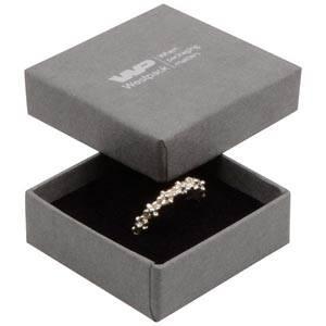 Frankfurt Jewellery Box for Ring/ Earrings/ Studs Grey Linen-look Cardboard/ Black Foam 50 x 50 x 17 (44 x 44 x 15 mm)