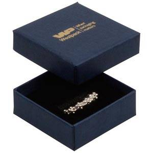 Frankfurt écrin pour bague Carton bleu foncé, aspect de lin / Mousse noire 50 x 50 x 17 (44 x 44 x 15 mm)