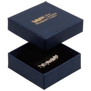 Frankfurt sieradendoosje voor ring / oorknopjes Donkerblauw karton met linnen structuur/Zwart foam 50 x 50 x 17 (44 x 44 x 15 mm)