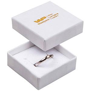 Frankfurt Jewellery Box for Ring/ Earrings/ Studs White Linen-look Cardboard/ White-Black Foam 50 x 50 x 17 (44 x 44 x 15 mm)