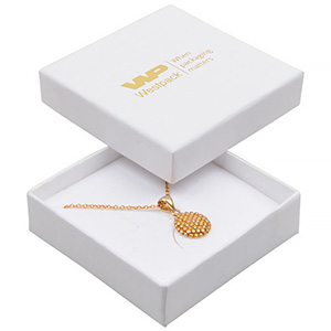 Frankfurt Jewellery Box for Drop Earrings/ Pendant White Linen-look Cardboard/ White-Black Foam 65 x 65 x 17 (59 x 59 x 15 mm)