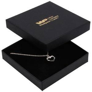 Frankfurt smykkeæske til halskæde / armbånd Mat sort karton / Sort skumindsats 86 x 86 x 17 (82 x 82 x 7 mm)