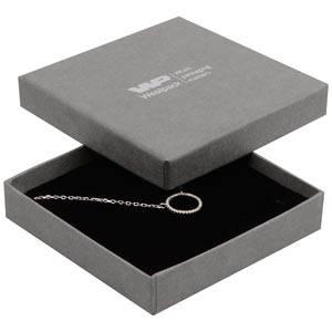 Frankfurt smykkeæske til halskæde / armbånd Mat grå karton med let struktur / Sort skumindsats 86 x 86 x 17 (82 x 82 x 7 mm)