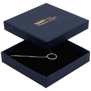 Frankfurt smyckesask till hänge/armband Mörkblå kartong, linne-look / Svart skuminsats 86 x 86 x 17 (82 x 82 x 7 mm)