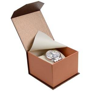 Milano smyckesask till Ur Pearl Bronze- Koppar kartong/Creme kudda 100 x 100 x 70 (91 x 91 x 64 mm)