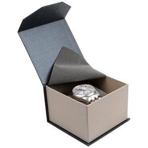 Milano écrin pour montre/ bracelet rigide Carton anthracite-argent perlé/ Mousse grisee 100 x 100 x 70 (91 x 91 x 64 mm)