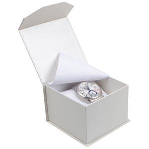 Milano écrin pour montre/ bracelet rigide Carton blanc ivoire perlé/ Mousse blanche 100 x 100 x 70 (91 x 91 x 64 mm)