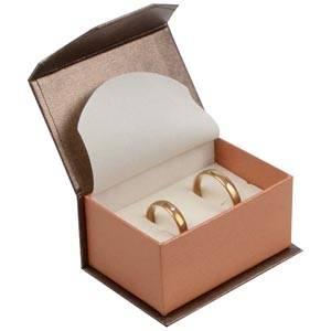 Milano écrin pour alliances / boutons de manchette Carton bronze-orange perlé/ Mousse écru 67 x 46 x 35 (60 x 40 x 30 mm)