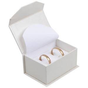 Milano écrin pour alliances / boutons de manchette Carton blanc ivoire perlé/ Mousse blanche 67 x 46 x 35 (60 x 40 x 30 mm)